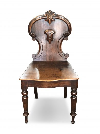 Victorian Oak Hall Chair With Scroll Back C 1870 Valentines
