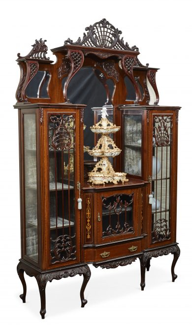 19th Century Art Nouveau Mahogany 3 Door Display Cabinet, With Fine  Crossbanding, Decorative Fretwork Panels. C.1880