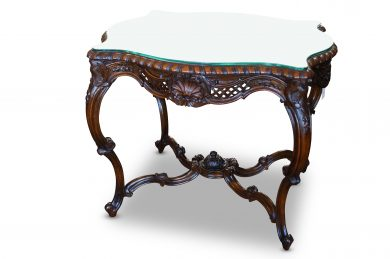 Victorian Style Burr Walnut Shaped Coffee Table With Glass Top